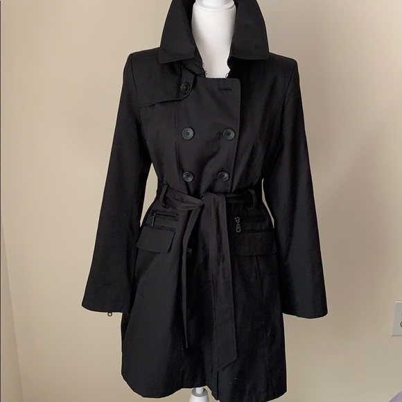 official store choose newest best sale DKNY black trench jacket